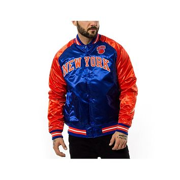 Mitchell & Ness Hardwood Classic NBA Satin New York Knicks Jacket Blue Orange