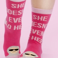 She Doesn't Even Go Here Mean Girls Women's Crew Socks - OUT OF STOCK, BE BACK SOON!