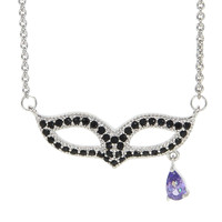 Dear Deer White Gold Plated Cubic Zirconica Black Masquerade Mask Pendant Necklace
