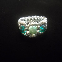 Seed Bead Ring With Pearls In Green