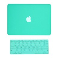"TopCase 2 in 1 Rubberized Robin Egg Blue Hard Case Cover and Keyboard Cover for Macbook White 13"" (A1342/Latest) with TopCase Mouse Pad"