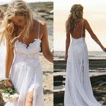 Lace Wedding Dress, Open Back Bridal Gown, Lace Chiffon Dress,Sexy dress,Wedding Gowns,Prom Gown,Custom Size and Color