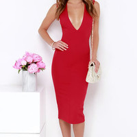 High Speed Chase Red Backless Midi Dress