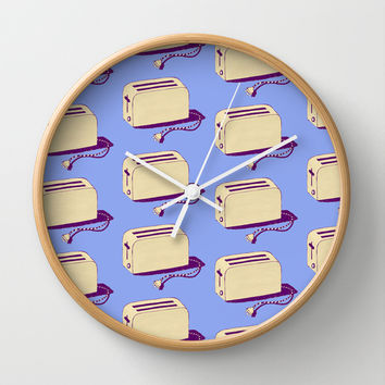 Toaster (blue & cream) Wall Clock by The Wallpaper Files