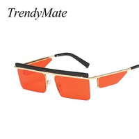 TrendyMate Retro Small Square Men Red Punk Sunglasses Fashion Women Yellow Tinted Lens Steampunk Sun Glasses for Men 2018 1459T
