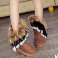 Snow boots artificial Thick autumn and winter warm high long snow boots faux fox rabbit fur leather tassel women's suede shoes
