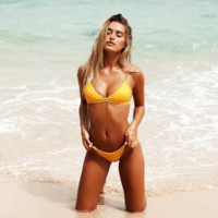 Fashion Women Yellow Bikini White Rhombus Print Backless Two Piece Bikini Swimwear Swimwear