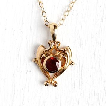 Vintage Garnet Necklace - Antique 14k Rosy Yellow Gold Stick Pin Conversion Charm Pendant - 1900s Edwardian Art Nouveau Era Fine Gem Jewelry