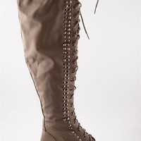 Wild Child Studded Lace Up Combat Boots - Beige