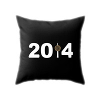 New York 2014 Pillow Cover, Black White & Golden Brown New Year Ball Drop Throw Pillowcase for Living Room and Holiday Home Decor