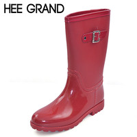 HEE GRAND Candy Color Rain Boots New Slip On Women Mid-Calf Rainboots Casual Round Toe Platform Flats Rubber Shoes Woman XWX3071
