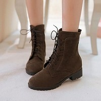 Round Toe Women Ankle Boots Artificial Suede Shoes Woman 2016 3394