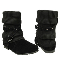 Womens Ankle Boots Slouch Knitted and Suede Cross Strap Buckles black