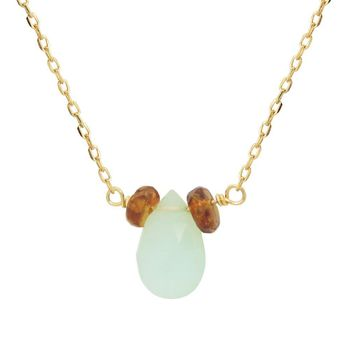 FRONAY 14K Gold Plated Silver Created Opal Teardrop Minimalist Necklace 15 inches