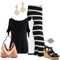 Set 478: Black Striped Skirt (bag and shoes sold separate)
