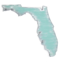 Florida State Wall Art Cut Out in mint, gray and white, city heart, state love wall decor,  any wooden state cut out, made to order