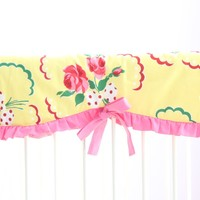 Emma's Yellow and Pink Floral Crib Rail Cover | Bold Bedding
