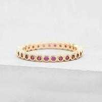 Mini Bezel Eternity Band - Gold + Ruby