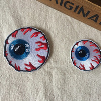 Cute iron on cloth patches cartoon eye ball punk style