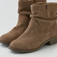 AEO Women's Slouchy Suede Bootie (Taupe)