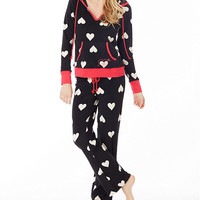 Betsey Johnson Heart-Print Hoodie Pajama Set | Dillards