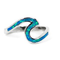 Sterling Silver Blue Opal Inlay Ocean Wave Ring