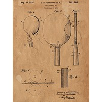 Ping Pong Paddle Patent Poster - Patent Poster - Office Art - Paddle Patent