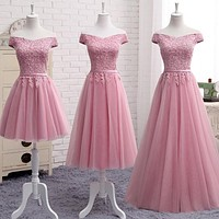Dusty Pink Bridesmaid Dresses Floor-length Sexy Boat Neck Cap Sleeve Applique Embroidery Cheap Prom Party Dress Vestido De Noiva