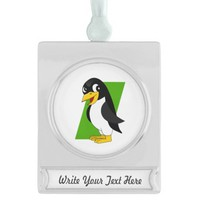 Cute penguin cartoon silver plated banner ornament