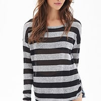 FOREVER 21 Striped Open-Knit Sweater Black/Grey