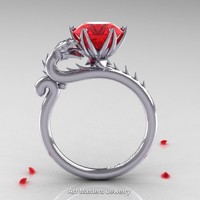 Art Masters 14K White Gold 3.0 Ct Ruby Dragon Engagement Ring R801-14KWGR