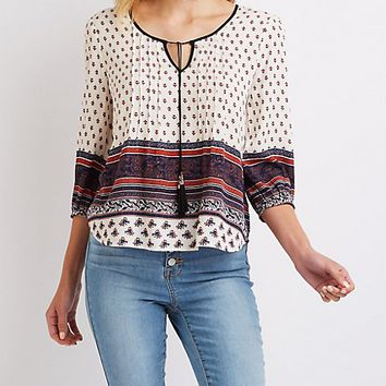 Printed Tie-Front Blouse