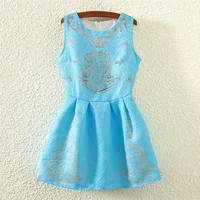 Blue Gold Thread Print Sleeveless Sheath A-line Pleated Mini Dress