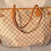 Authentic Louis Vuitton Damier Azur Canvas Neverfull MM Bag - Excellent