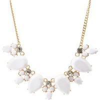 White Faceted Stone Statement Necklace by Charlotte Russe - White