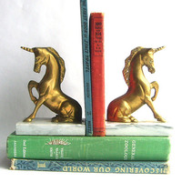 $49.00 Solid Brass and Marble Unicorn Bookends by SweetLoveVintage