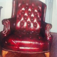 Vintage Wingback Leather Tufted Chair
