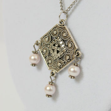 Detailed Pale Pink and Silver Faux Pearl Beaded Pendant - Romantic Handmade Neo Victorian Jewelry - Ready to Ship