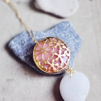 necklace with LARGE peach pink stone pendant in golden flower lace unique frame sweet dragonfly long chain Flower garden collection israel by YUNILIsmiles