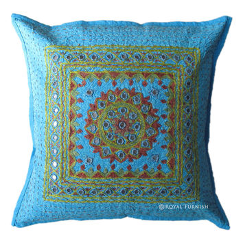 "16"" Blue Mirror Embroidered Decorative Accent Throw Pillow Cover"