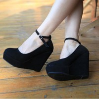 Buypretty Sexy Womens Dress Party Buckle Wedge Strappy Platform High Heel Shoes Black --Size US 6