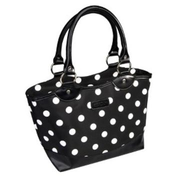 Sachi Black with White Dots Insulated Lunch Tote