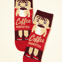 She Did the Monster Dash Socks in Coffee | Mod Retro Vintage Socks | ModCloth.com