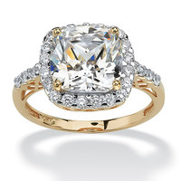3.20 TCW Cushion Princess-Cut Cubic Zirconia 10k Yellow Gold Engagement Anniversary Ring on PalmBeach Jewelry