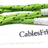 CablesFrLess (TM) 3ft 3.5mm Auxiliary (AUX) Audio Jack cable (Braided Style) (Green)