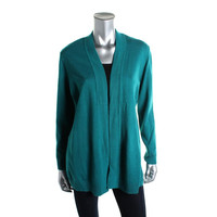 JM Collection Womens Ribbed Trim Knit Cardigan Sweater