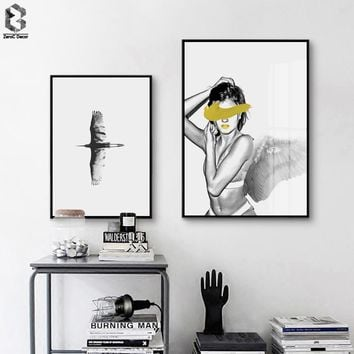 Modern Posters And Prints Wall Art Canvas Painting Nordic Wall Pictures Bird For Living Room Angel Girl Decoration Pictures