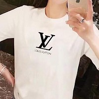 LV Louis Vuitton Women Men Casual Classic Letter Print Short Sleeve T-Shirt Top Blouse