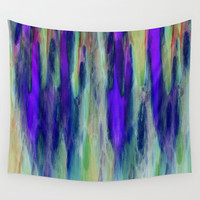 The Cavern in Shades of Purple and Green Wall Tapestry by Jenartanddesign