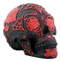 Day of the Dead Black and Red Tattoo Sugar Skull Statue 5L